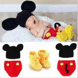 Wholesale Crochet Knit Shoes - Newborn Photography Props with Baby Shoes Mouse Baby Girls Boys Crochet Knit Costume Photo Photography Prop Outfit