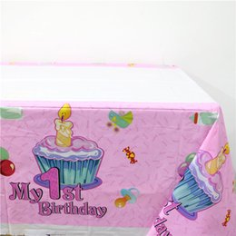 Wholesale Plastic Tablecover - Wholesale- 1pcs\lot 1st Birthday Maps Happy Baby Shower Party Kids Girls Favors Pink Plastic Tablecover Decoration Tablecloth Supplies