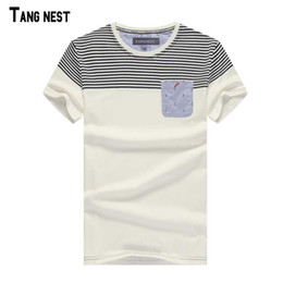 Wholesale Wholesale Striped T Shirts - Wholesale- TANGNEST Men Short T-shirts 2017 Men's Fashion Short Sleeve T-shirts Men Striped Casual Tee Summer T-shirts MTS1443