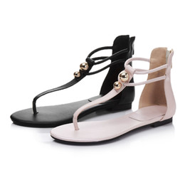 Wholesale Leather C String - Women's Summer Sandals Flat Shoes String Bead Bohemia Leisure Lady Sandals Peep-Toe Outdoor Shoes Size34-43
