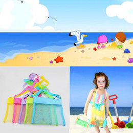 Wholesale Seashell Bags - 5 Color Children Kids Mesh Shell Bag Summer Beach Seashell Tote Bag Practical Storage Bags 23*23cm Free Shipping ZA3582