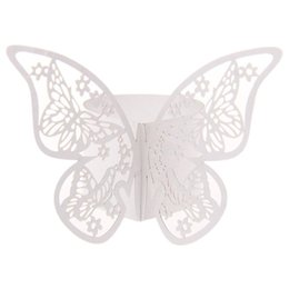 Wholesale Paper Napkin Rings Wedding - Wholesale- 50pcs Napkin Butterfly Ring Paper Holder Table Party Bridal Wedding Favors