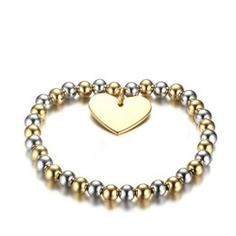 Wholesale Steel Ball Stretching - Meaeguet Womans Balls Bead Bangle Stainless Steel Love Heart Cross Charms Stretch Bracelet Best Friendship Gift Wedding Party BR-274