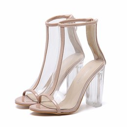 Wholesale Women Career Wear - Fashion crystal transparent shoes thick high heels peep toe PVC ankle bootie women prom party wear size 35 to 40