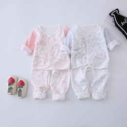 Wholesale Cute Summer Clothes For Boys - 2 color Korean style newborn high quality 100% cotton long sleeve baby two pieces set baby boy girl clothing sets suit for 0-1Tfree shipping