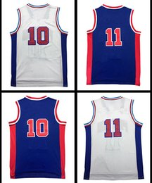 Wholesale Blue Dr - Wholesale Throwback Men's #10 dr #11 IT Basketball Jersey Retro Adult Embroidery Logos and 100% Stitched Fast free shipping