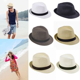 Wholesale Black Cowboy Hat Band - Fashion Hats for Women Fedora Trilby Gangster Cap Summer Beach Sun Straw Panama Hat with Ribbow Band Sunhat