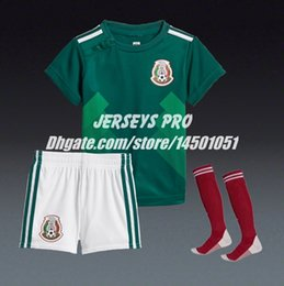 Wholesale Girls Home Sock - Youth Kids Baby Boy Girls Children's Mexico 2018 World cup Home green Soccer Uniforms Jersey with Shorts Socks kit Hirving Lozano Chicharito