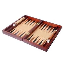 Wholesale Amusement Toys - Wholesale- 11 inch Standard Wooden Backgammon Toys Folding Portable Chess set for traveling amusement