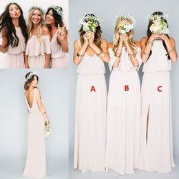 Wholesale Bridesmaid Dresses Pale Blue - Dusty Pale Beige Chiffon Mumu Boho Country Bridesmaid Dresses 2017 Elegant Split Off-shoulder Long Cheap Bridesmaid Gowns