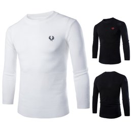 Wholesale Round Neck Long Sleeve Men - spring and autumn Brand men's casual round neck sweater Jumper Men's sweaters Black Sweater Wheat embroidered sweater sudaderas