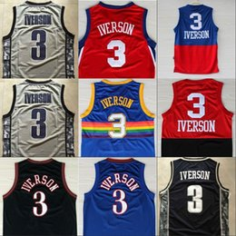 Wholesale Shirt Usa - Retro Shirt Cheap Men's #3 Allen Iverson Jerseys USA Alll Star Black Blue White Rev 30 Classical Throwback Jersey 100% stitched