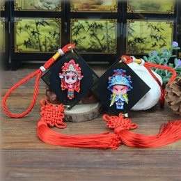 Wholesale Female Figure Art - Solid resin, three figures, Chinese knot, pendant, double face, Peking Opera mask, Chinese wind, Sichuan, Chengdu souvenir