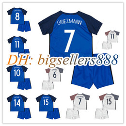 Wholesale Boys 16 - Best quality 16 17 kids Euro France Home blue soccer Jersey Kits 2016 2017 GRIEZMANN POGBA MARTIAL Giroud Away white child Football shirts
