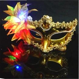 Wholesale Dance Mask Princess - Italy New Style LED Venice Shiny Masks Flashing Princess Mask Dance Mask Side Plating Mask Pointed Flower Luminous Masks Masquerade Masks