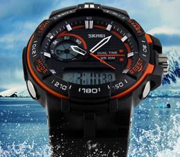 Wholesale plastic swim - SKMEI SK1070 men's GMT dual display watch, analog digital relogio waterproof swim wristwatch, led military watch, gift watch for men