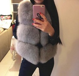 Wholesale Girls Fox Fur Coats - Plus size 3XL Candy color gorgeous Girl Faux Fox Fur Vest short Coat V neck gilet patchwork PU Sleeveless outwear coats