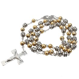 Wholesale Mary Heart - hot sale stainless steel jewelry fashion anti rust titanium steel religious men Jesus cross mother Mary Beads chain long pendant necklace