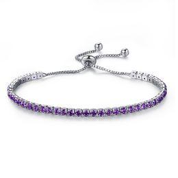 Wholesale Gold Birthstone - Classical Platinum Plated Cubic Zirconia Birthstone Crystal Tennis Bracelet for Women Round Cut Wedding Engagement Birthstone Jewelry