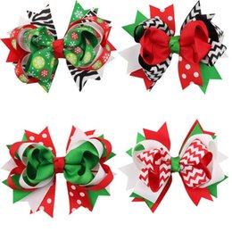 Wholesale Brown Zebra Hair Bow - Cute Children Hair Accessories Christmas baby girls hair clips ribbon bow hairpins X-mas gift zebra striped dots snow flowers kids barrette