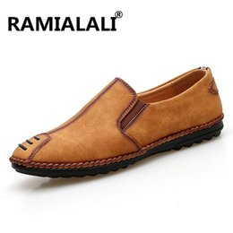 Wholesale Rubber For Hand Made Shoes - Ramialali Genuine Leather Mens Shoes Casual Fashion Loafers Shoes for Men Hand Made Driving Shoes Men Comfort Flats