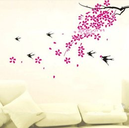 Wholesale Chinese 3d Posters - Home Decor Wall Stickers 3D Tree Plum Decals Decorative Poster for Kids Rooms Adhesive To Wall Decoration Removable Decals Modern