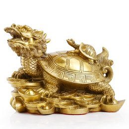 Wholesale Brass Turtle - Pure copper dragon turtle pendulum town house zhuo evil spirits against small people mother and son ingot turtle beast feng shui