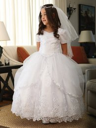 Wholesale Embroidered Overlay - White Communion Embroidered Organza Ball Gown Dresses 2017 Short Sleeves Beaded Flower Girls Dresses Overlay Train Girls Dress For Weddings