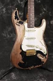 Wholesale Black Body Paint - Handwork John Mayer Strat Limited Edition Black 1 John Cruz Masterbuilt Heavy Relic Electric Guitar Aged hardware Nitrolacquer Paint