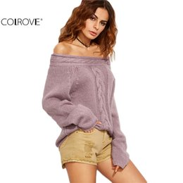 Wholesale knit cable sweater - Wholesale-COLROVE Purple Cable Knit Off The Shoulder Long Sleeve Pullovers 2016 Fall Ladies Sexy Wear Oversized Sweater