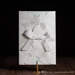 Wholesale Wedding Cards Design Price - Hot selling Ivory Wedding Invitations cards Personalized White Wedding Invitation Cards with newest designs DHL free shipping in low price
