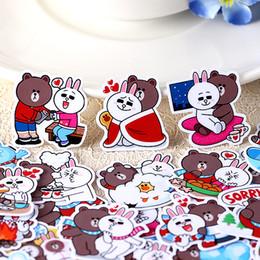 Adesivo di diario deco online-Wholesale- 40pcs Self-made Cute Cartoon Orso Coniglio adesivi Scrapbooking FAI DA TE FAI DA TE Sticker Sticker Pakc Album di foto Deco Diario Deco