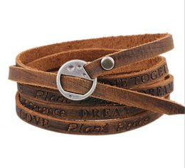 Wholesale Wholesale Adjustable Leather Bracelets Buckle - Brown Leather Bracelet With Alloy Buckle Adjustable Fashion Women & Men Bracelets With English Letters, Cowboy Jewelry