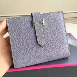 Wholesale Korean Black Dresses For Women - Luxury Brand Designer Genuine togo Leather Women Organizer Buckle Wallets Purses Ladies' Card Holders Short Wallet For Women Woman Wallet