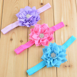 Wholesale Floral Dress Accessories - free shipping 10pcs lot Fabric Winter Flower Elastic headband With Alloy Rhinestones for Baby Hair accessories baby girls dress up FD58