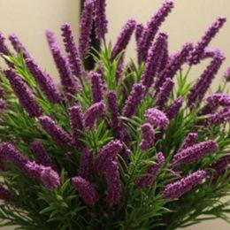 Lavande romantique en Ligne-25 têtes / bouquet Fleur de soie romantique provence 5 couleurs fleurs artificielles lavande décoration fête de mariage jardin
