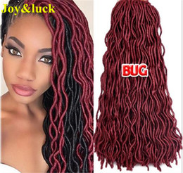 Wholesale Hair Braid Blonde - New And Hot 20inch Fauc locs Crochet Braids Burgandy Blonde Color Cheap Factory Price High Quqality Synthetic Hair Extention