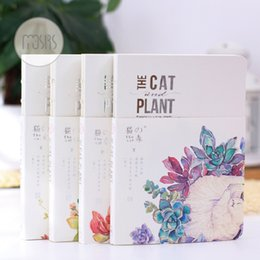 Wholesale Notebook Note Pad Diary Book - Wholesale- cartoon The Cat & Plant notebook journal diary book planner hand books note pad for kids kawaii stationery