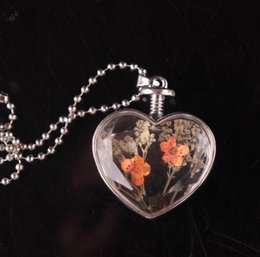 Wholesale Matches Charm - Heart-Shaped Locket Necklaces All-Match Crystal Necklace Wholesale Hot Korean Popular Fashion Flower C S H -58743