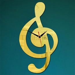 luxus moderne wandaufkleber Rabatt Großhandel-Home Decor Luxury Wanduhr DIY Spiegel Aufkleber Clock Music Note große dekorative Wanduhren Horloge Murale