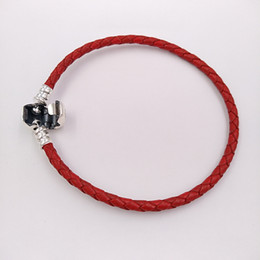 Wholesale Red S3 - Authentic 925 Sterling Silver Moments Single Woven Leather Bracelet - Red Fits European Pandora Styles Jewelry Charms Beads 590705CRD-S3