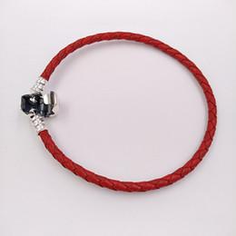 Joyas de cuentas rojas online-Momentos auténtica plata de ley 925 solo tejido de cuero de la pulsera - Red Europea adapta a Pandora encantos Estilos de la joyería en 590705CRD-S3