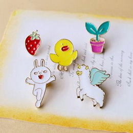 Wholesale Enamelled Pots - 2017 Cute Angel Alpaca Red Strawberry Yellow Duck Pink Flower Pot White Rabbit Tuzki Enamel Pin Set 5 Options Button Pins Insigna Metal nz24