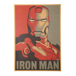 Wholesale Paper Iron Man - Wholesale- 1 PCS Retro Style Comic Iron Man Avatar Poster Decorative Painting Kraft Paper Posters Children Bedroom Adornment Wall Sticker