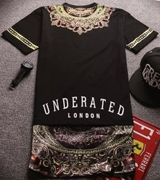 Wholesale Tyga Shirts - 2017 Paisley Tyga Swag Long Back Streetwear Swag Man Hip Hop Skateboard Stripe Oversize Tshirt T shirt Top Kanye West Tee Men