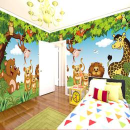 2019 forbici di carta da parati 3d foresta Cartoon Wall Mural Forest Animals Animazione camera dei bambini 3D murale per camera dei bambini ragazzo / ragazza camera da letto carta da parati personalizzata di qualsiasi dimensione forbici di carta da parati 3d foresta economici