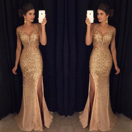 Wholesale Special Sexy - Real Image 2018 Hot Selling Sparkle Sexy Style V-Neck Evening Long Dresses With Sequin Prom Gowns