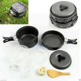 Wholesale Hiking Cooking - Onfine new arrivel 8pcs Outdoor Camping Hiking Cookware Backpacking Cooking Picnic Bowl Pot Pan Set (2~3 People) wholesale