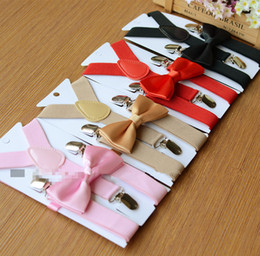 Wholesale Suspenders For Girls - Kids Suspenders and Bow Tie Set for 1-10T 26colors Baby Braces Elastic Y-back Red Pink Black Blue Boys Girls accessories