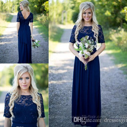 Wholesale Country Style Lace Dresses - 2017 Elegant Navy Blue Country Style Cheap Bridesmaid Dresses Lace Short Sleeves Chiffon V Back Long Wedding Guest Dresses